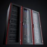 在白色backgroundRow隔绝的三个运转的服务器机架行三关闭了在黑背景隔绝的服务器机架 库存例证