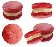 在白色backround的集合桃红色蛋白杏仁饼干 3d现实杏仁饼 r 库存例证