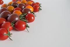 在白色blackgrownd的被分类的蕃茄 免版税库存照片