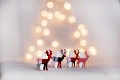 在白色bokeh背景的圣诞节鹿 免版税库存图片