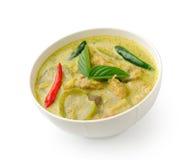 在白色bolw的泰国食物鸡绿色咖喱 库存图片