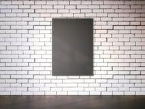 在白色brickwall的空白的画框 3d翻译 库存图片