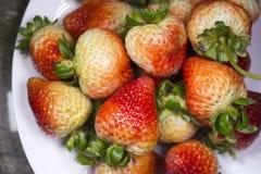 在白色plate0的可口开胃草莓 库存照片