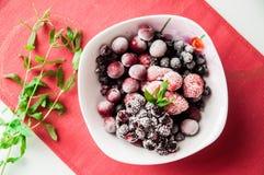 在白色squareplate的冷冻莓果与束薄菏 库存照片