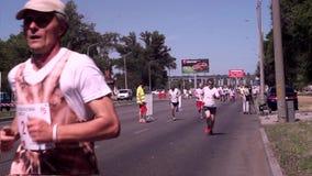 在白色T恤的马拉松运动员和黑短裤,在绿色沿大道跑的盖帽和太阳镜,在沥青 股票视频