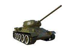在白色T-34隔绝的苏联坦克 图库摄影