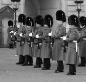 在白金汉宫的骑马卫兵 免版税库存图片