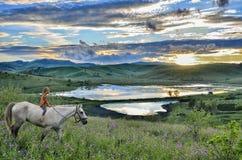 在白马的小女孩骑马在日落的山 库存图片