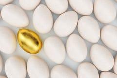 在白鸡蛋、概念个性、排他性和成功附近的唯一金黄鸡蛋在生活中 蛋金黄唯一 金黄 库存照片