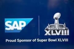 在百老汇的SAP超级杯XLVIII广告牌在超级杯XLVIII星期期间在曼哈顿 库存照片
