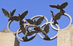 在百年奥林匹克公园的皮埃尔・德・顾拜旦纪念雕象,亚特兰大 免版税库存照片