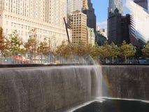 在的世界贸易中心的纪念品爆心投影纽约 免版税库存图片