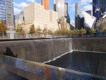 在的世界贸易中心的纪念品爆心投影纽约 库存图片