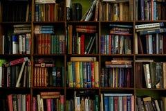 在的书木shelfs 在木架子的老和新书 库存照片