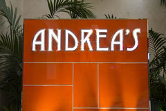 在的再来一次旅馆,拉斯维加斯里面的安德里亚的标志 免版税图库摄影