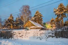 在的冬天农村风景在俄罗斯西北部 自然 免版税库存图片