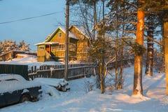 在的冬天农村风景在俄罗斯西北部 自然 库存图片