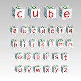 在的字母表在背景隔绝的立方体,储蓄传染媒介例证 库存例证