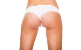 在的屁股白色内裤 免版税库存图片