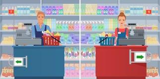 在的年轻人和妇女出纳员在超级市场checkout 导航工作在收款机的女性和男性出纳员 皇族释放例证