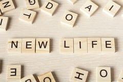 在的新的生活文本木立方体 木头ABC 免版税库存照片