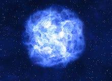 在的明亮的蓝色电子行星黑暗的背景 库存图片