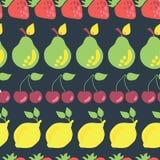 在的果子单行矩阵无缝的样式背景 库存例证