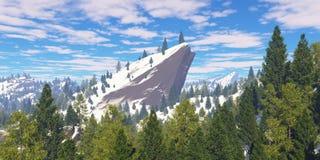 在的树积雪的岩石 免版税库存图片