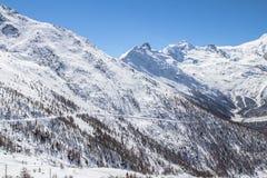 在的滑雪轨道在Saas费的瑞士山 免版税库存照片