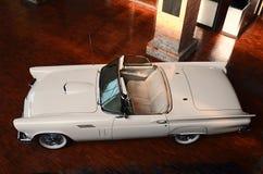 在的白色Ford Thunderbird 1957年在展览室里 库存照片