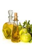 在的苹果汁醋玻璃小瓶和绿色苹果 库存图片