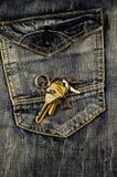 在的议院钥匙牛仔裤 库存图片