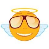 在的逗人喜爱的天使意思号在白色背景的太阳镜 免版税库存图片