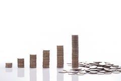 在的财政概念金钱硬币图表日程表崩溃 库存照片