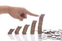 在的财政概念金钱硬币图表日程表崩溃 库存图片
