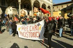 在的总罢工2014年12月12日在佛罗伦萨,意大利 免版税库存图片