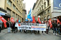 在的总罢工2014年12月12日在佛罗伦萨,意大利 免版税库存照片