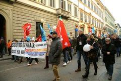 在的总罢工2014年12月12日在意大利 免版税库存照片