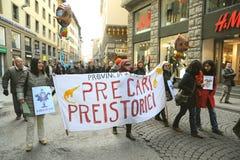 在的Genaral罢工2014年12月12日在意大利 图库摄影