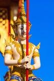 在皇家火葬结构,曼谷的神仙的雕象在泰国 免版税库存图片
