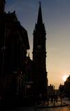 在皇家英里的日落在爱丁堡,苏格兰 库存照片