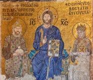 在皇帝康斯坦丁IX Monomachus和女皇佐伊之间的基督Pantocrator 库存图片