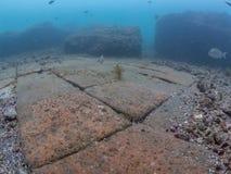 在皇帝Claudio's Ninfeum的陶瓷地垫 水下, 库存图片