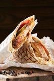 在皮塔饼面包的Shawarma 免版税库存图片