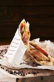 在皮塔饼面包的Shawarma 免版税库存照片