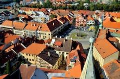 在皮塞克,捷克镇的看法  免版税库存照片