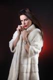 在皮大衣的美好的女孩模型包括风 库存照片