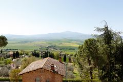 在皮恩扎,意大利附近的托斯坎乡下 库存照片
