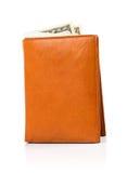 在皮革棕色钱包的钞票美元在白色 免版税库存照片