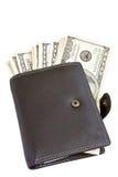 在皮革钱包里面的美元 库存图片